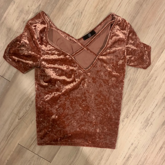 Missguided Tops - Velour short sleeve top